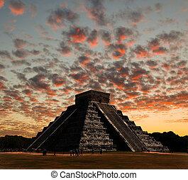 The temples of chichen itza temple in Mexico