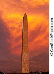 The Washington Monument during sunset