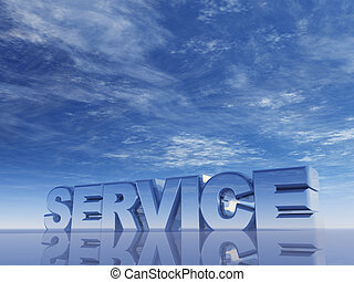 the word service in front of blue sky - 3d illustration