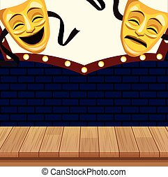 theatrical masks billboard stand up comedy show