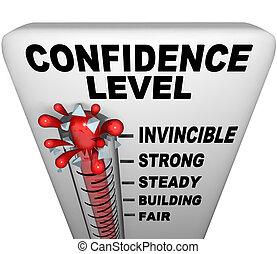 A thermometer with mercury bursting through the glass, and the words Confidence Level, symbolizing a positive attitude