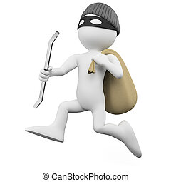 Thief running with a crowbar and a sack. Rendered on a white background with diffuse shadows.