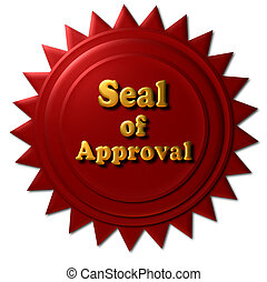 """This red seal with gold letters declaring """"Seal of Approval"""" can be use on the web or other marketing material."""