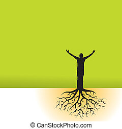man with tree roots