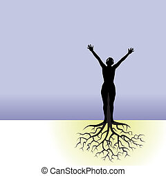 woman with tree roots
