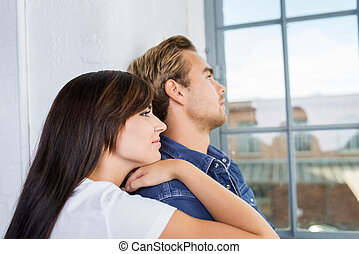Thoughtful pensive young couple