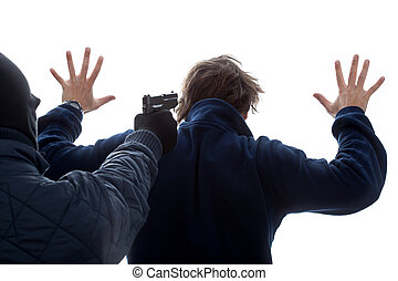 A criminal threatening an innocent man with his hands up