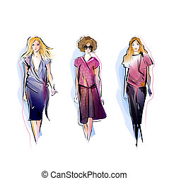 three fashion models illustration