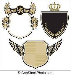 three royal coat of arms