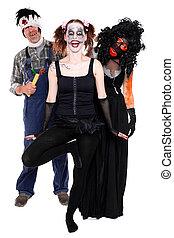 three scary creatures concept halloween