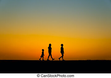 three silhouette people