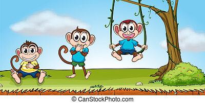 Three smiling monkeys