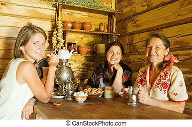 women having tea