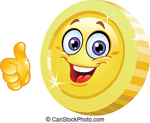 Smiling coin showing thumb up