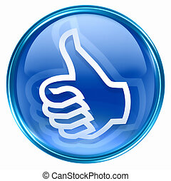thumb up icon blue, approval Hand Gesture, isolated on white background.