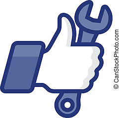 Like/Thumb Up icon with wrench, vector Eps8 illustration