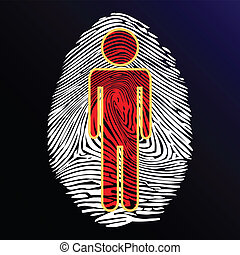 Illustration thumbprint people as a symbol of identity.