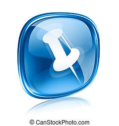 thumbtack icon blue glass, isolated on white background.