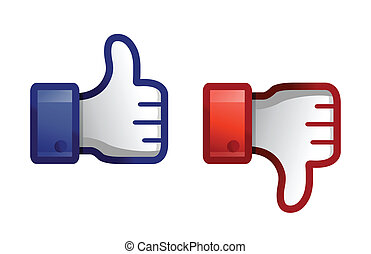 thump up & thumb down illustration design over white