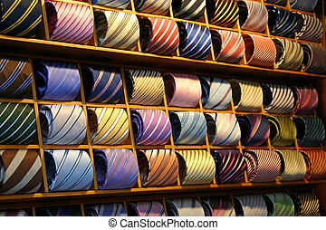 Fashionable Ties on a shelf in a shop