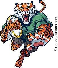 Tiger Rugby Mascot Vector Cartoon