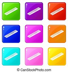 Timber plank icons set 9 color collection
