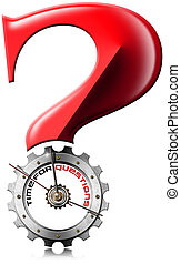 Time for Questions - Question Mark Metallic Gear