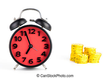 Time is Gold Alarm Clock concept isolated on white
