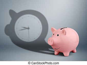 time is money concept, piggy bank with clock shadow