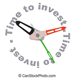Time to invest in a retirement plan in stock during market growth isolated clock indicating time for safe investment or adjust your scedule with time investment plan