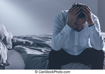 Tired man with depression