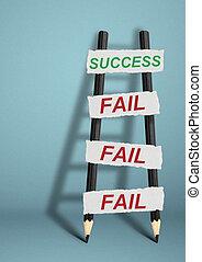 To success through failures creative concept, pencil Ladder