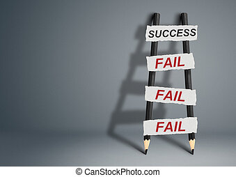 To success through failures creative concept, pencil Ladder with copy space