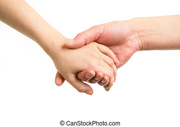 Close-up of mother and child holding by hands