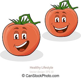 Tomatoes with cartoon look with face