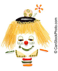 A portrait of shy clown made of vegetables and noodles.