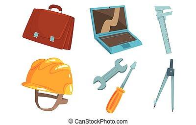 Tool kit engineer and repairman. Vector illustration.