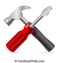 Screwdriver and hammer. Illustration on white background