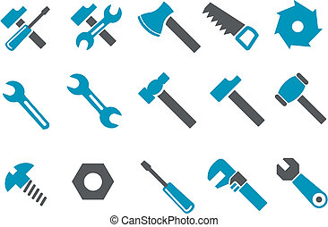 Vector icons pack - Blue Series, tool collection