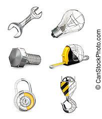 Tools set, vector