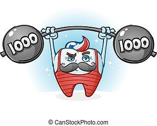 Tooth Body Builder Cartoon