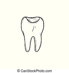Tooth cavity hand drawn outline doodle icon.