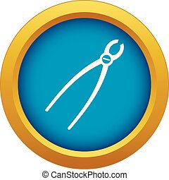 Tooth extraction instrument icon blue vector isolated