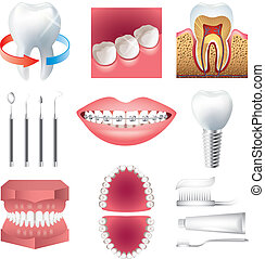 tooth healthcare and stomatology photo realistic vector set