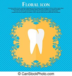 tooth icon. Floral flat design on a blue abstract background with place for your text. Vector