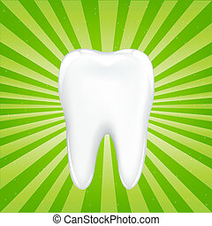 Tooth With Beams, On Green Background With Beams, Vector Illustration
