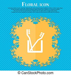 Toothbrush icon sign. Floral flat design on a blue abstract background with place for your text. Vector