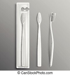 Toothbrush package mockup, dental care products
