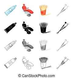 Toothpaste for dental care, an armchair, toothpicks, a tool, a mirror and a probe. Dental care set collection icons in cartoon black monochrome outline style vector symbol stock illustration web.