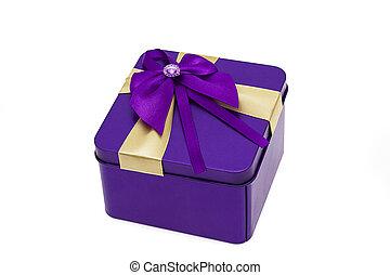 top view of purple present box
